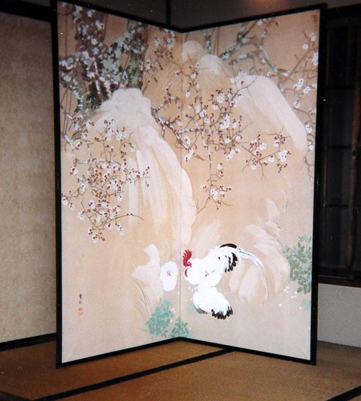 日本画家祖父・紫軒が描いた屏風絵