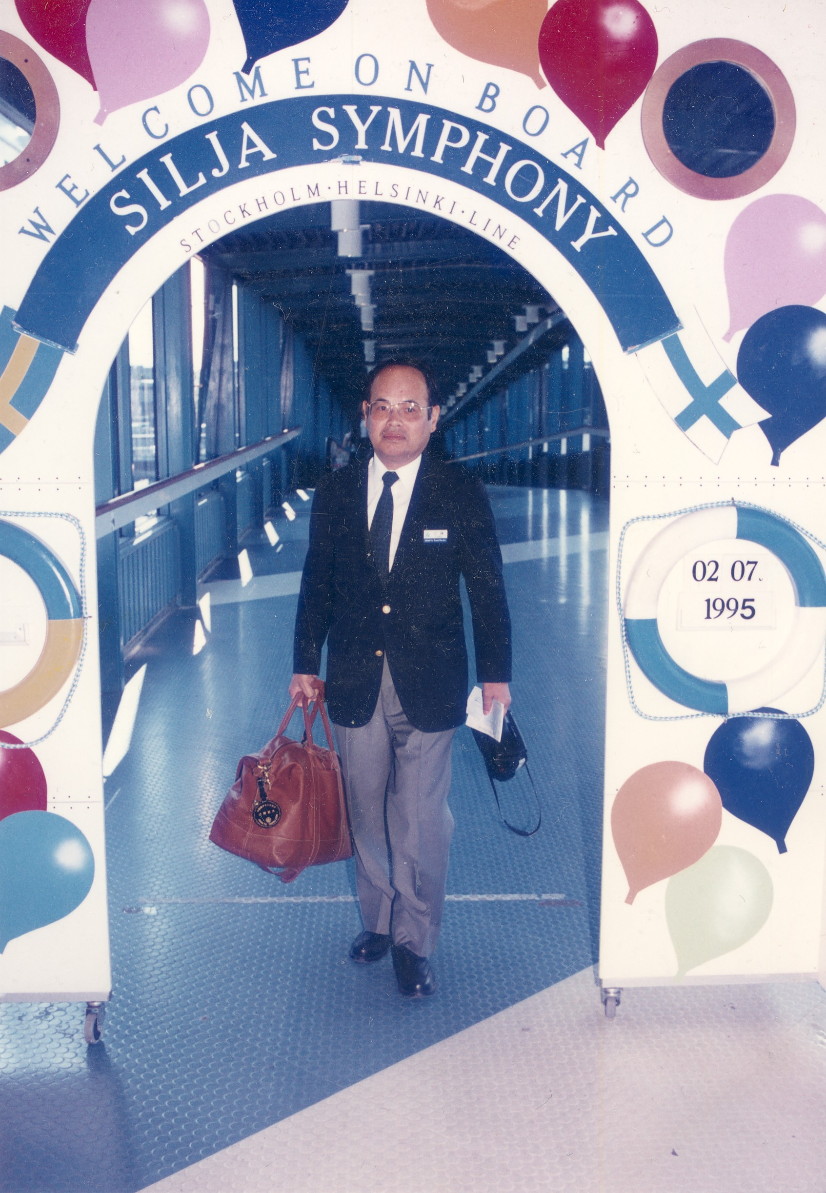 豪華客船「シリア・ライン」でストックホルムからヘルシンキへ向かう。 1995年7月